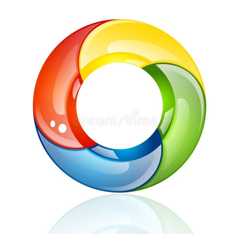 Ζωηρόχρωμο τρισδιάστατο κύκλος ή δαχτυλίδι διανυσματική απεικόνιση