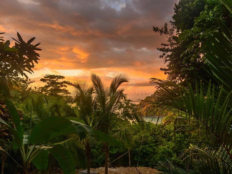 Ζωηρόχρωμο τροπικό ηλιοβασίλεμα στη Κόστα Ρίκα στοκ φωτογραφία με δικαίωμα ελεύθερης χρήσης