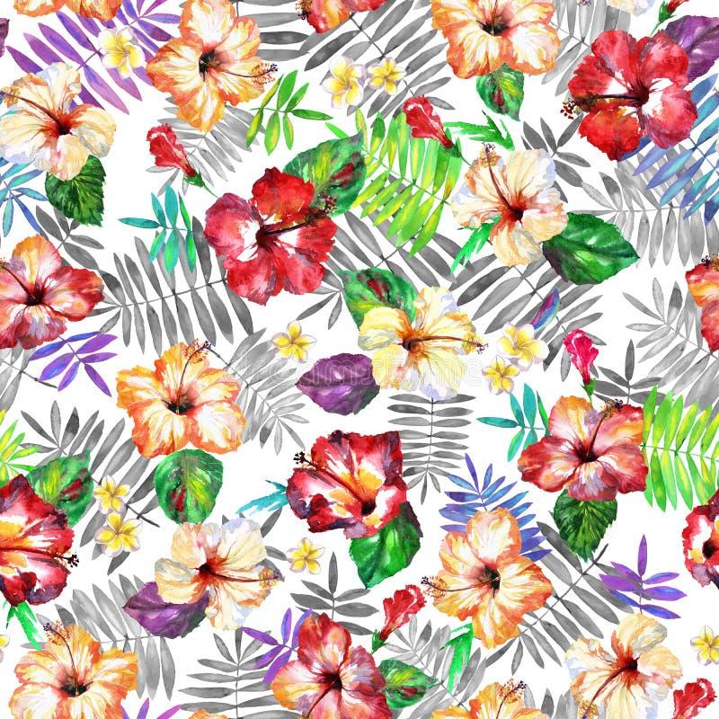 Ζωηρόχρωμο τροπικό σχέδιο με τα φύλλα φοινικών που απομονώνεται σε ένα λευκό ελεύθερη απεικόνιση δικαιώματος