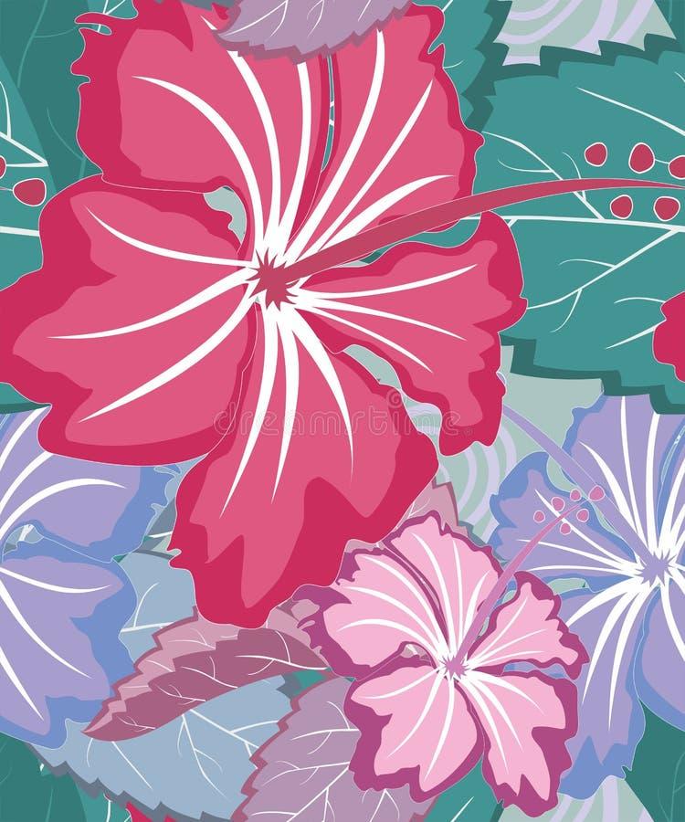 Ζωηρόχρωμο τροπικό floral άνευ ραφής πρότυπο διανυσματική απεικόνιση