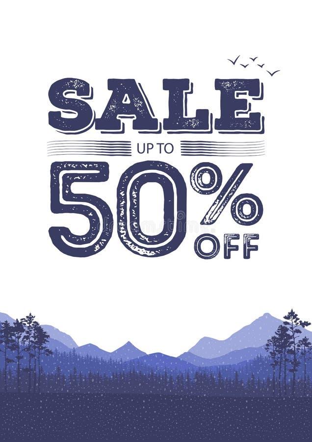 Ζωηρόχρωμο υπόβαθρο έκπτωσης Αφηρημένες φυσικές πωλήσεις εμβλημάτων Το ιπτάμενο δασών και τοπίων βουνών επίσης corel σύρετε το δι ελεύθερη απεικόνιση δικαιώματος