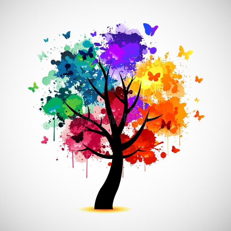 Ζωηρόχρωμο υπόβαθρο δέντρων με το χρώμα splat και τις πεταλούδες απεικόνιση αποθεμάτων