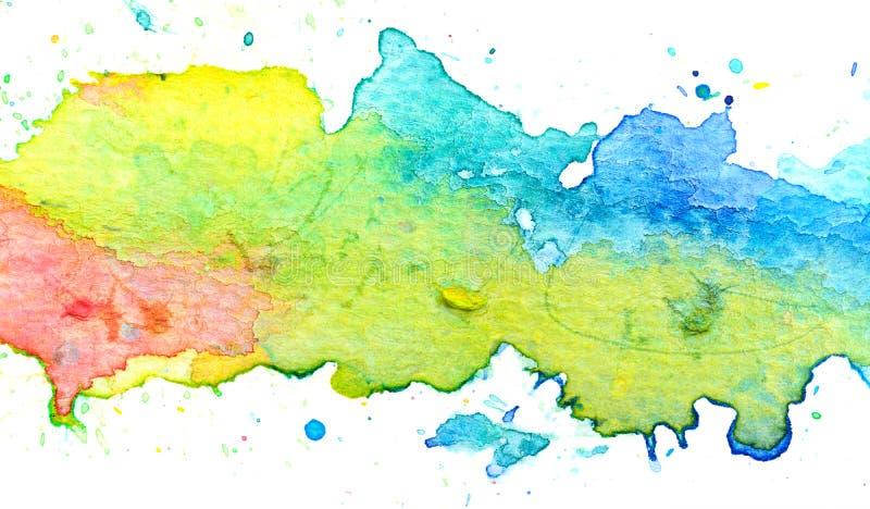 Ζωηρόχρωμο υπόβαθρο ζωγραφικής watercolor κρητιδογραφιών απεικόνιση αποθεμάτων