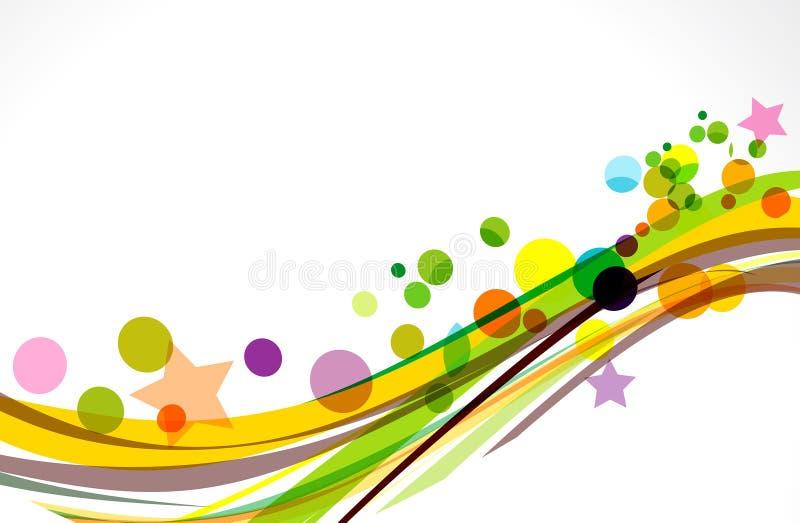 Ζωηρόχρωμο υπόβαθρο κυμάτων με τα αστέρια ελεύθερη απεικόνιση δικαιώματος