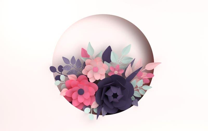 Ζωηρόχρωμο υπόβαθρο λουλουδιών εγγράφου Ημέρα βαλεντίνου, Πάσχα, ημέρα της μητέρας, γαμήλια ευχετήρια κάρτα τρισδιάστατος δώστε τ διανυσματική απεικόνιση