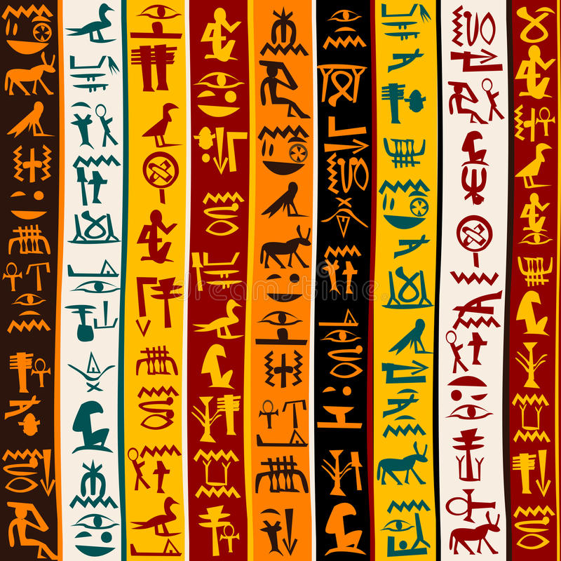 Ζωηρόχρωμο υπόβαθρο με αιγυπτιακά hieroglyphs διανυσματική απεικόνιση