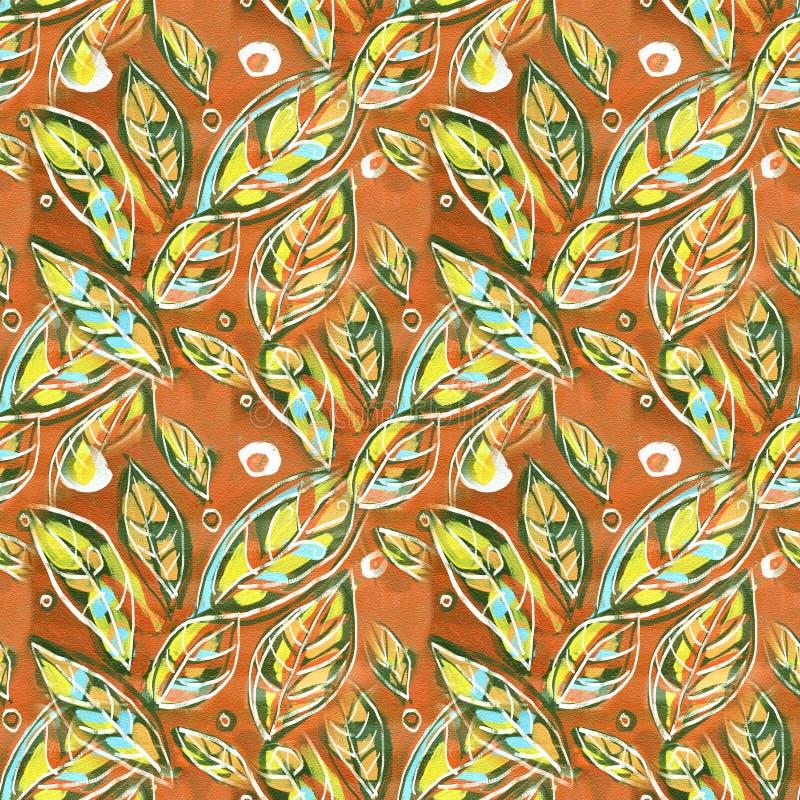 Ζωηρόχρωμο υπόβαθρο με τα φύλλα, ακρυλική ζωγραφική Αφηρημένο υπόβαθρο σχεδίων φυλλώματος άνευ ραφής διανυσματική απεικόνιση