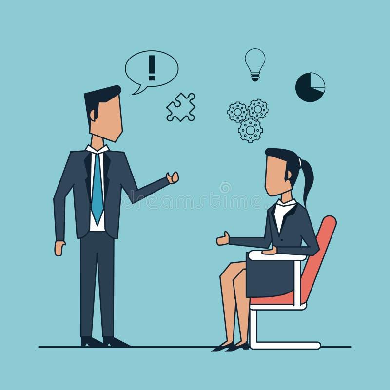 Ζωηρόχρωμο υπόβαθρο με την επιχειρησιακή συνεδρίαση επικοινωνίας και στρατηγικής μεταξύ του επιχειρηματία και της επιχειρηματία διανυσματική απεικόνιση