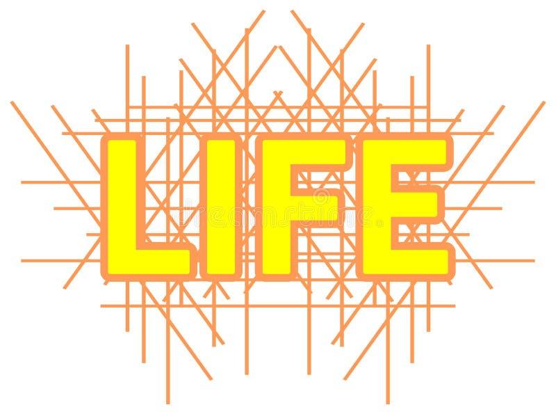 Ζωηρόχρωμο υπόβαθρο με τη ζωή λέξης που απομονώνεται απεικόνιση αποθεμάτων