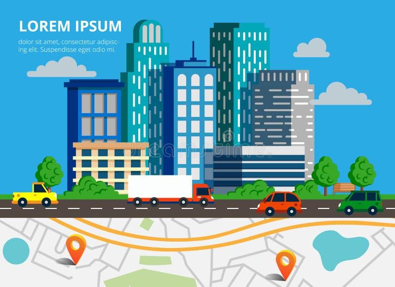 Ζωηρόχρωμο υπόβαθρο με τον ορίζοντα πόλεων, την κυκλοφοριακή συμφόρηση και το χάρτη πόλεων στοκ εικόνα με δικαίωμα ελεύθερης χρήσης
