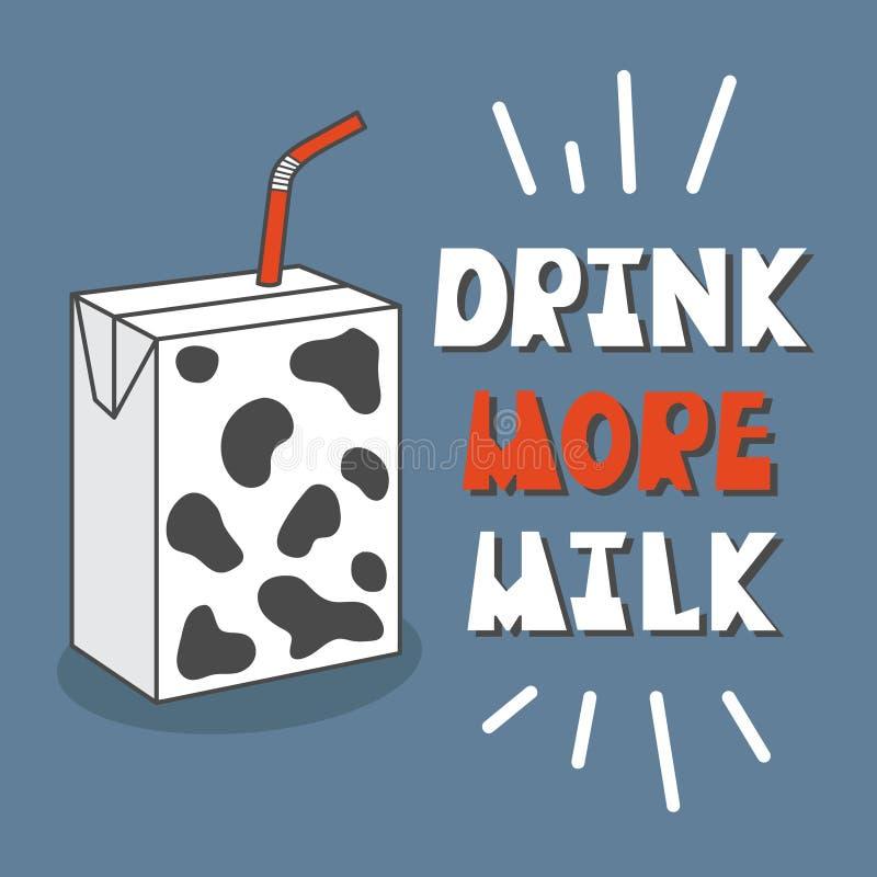 Ζωηρόχρωμο υπόβαθρο με το γάλα και το αγγλικό κείμενο Πιείτε περισσότερο γάλα Διακοσμητική αφίσα διανυσματική απεικόνιση