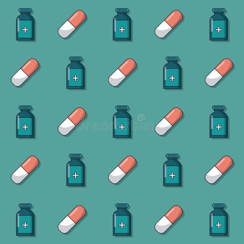 Ζωηρόχρωμο υπόβαθρο με το σχέδιο των μπουκαλιών και των χαπιών ιατρικής που ζωντανεύουν απεικόνιση αποθεμάτων