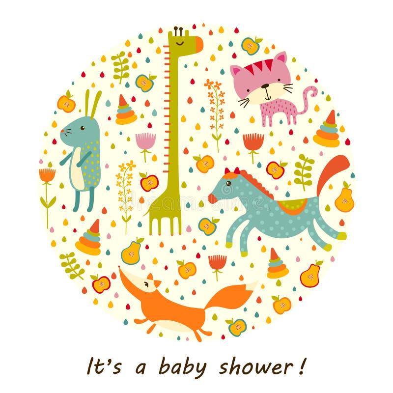 Ζωηρόχρωμο υπόβαθρο ντους μωρών Χρόνια πολλά ευχετήρια κάρτα ή πρόσκληση ελεύθερη απεικόνιση δικαιώματος