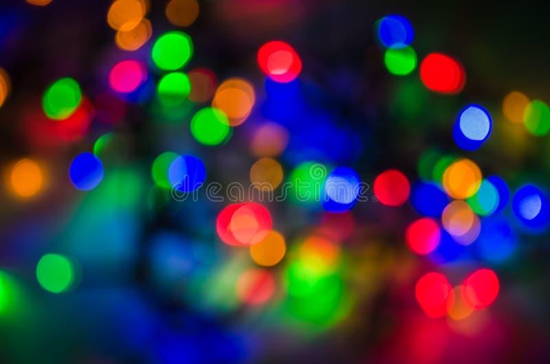 Ζωηρόχρωμο υπόβαθρο νύχτας γιρλαντών bokeh στοκ εικόνες