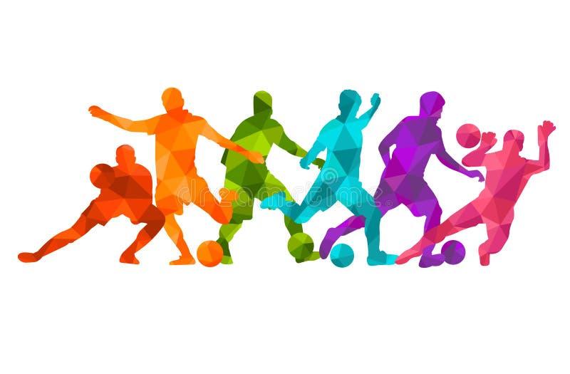 Ζωηρόχρωμο υπόβαθρο σκιαγραφιών σφαιρών ποδοσφαίρου ποδοσφαιριστών Διανυσματική coloful αφίσα καρτών εμβλημάτων σχεδίου απεικόνισ απεικόνιση αποθεμάτων