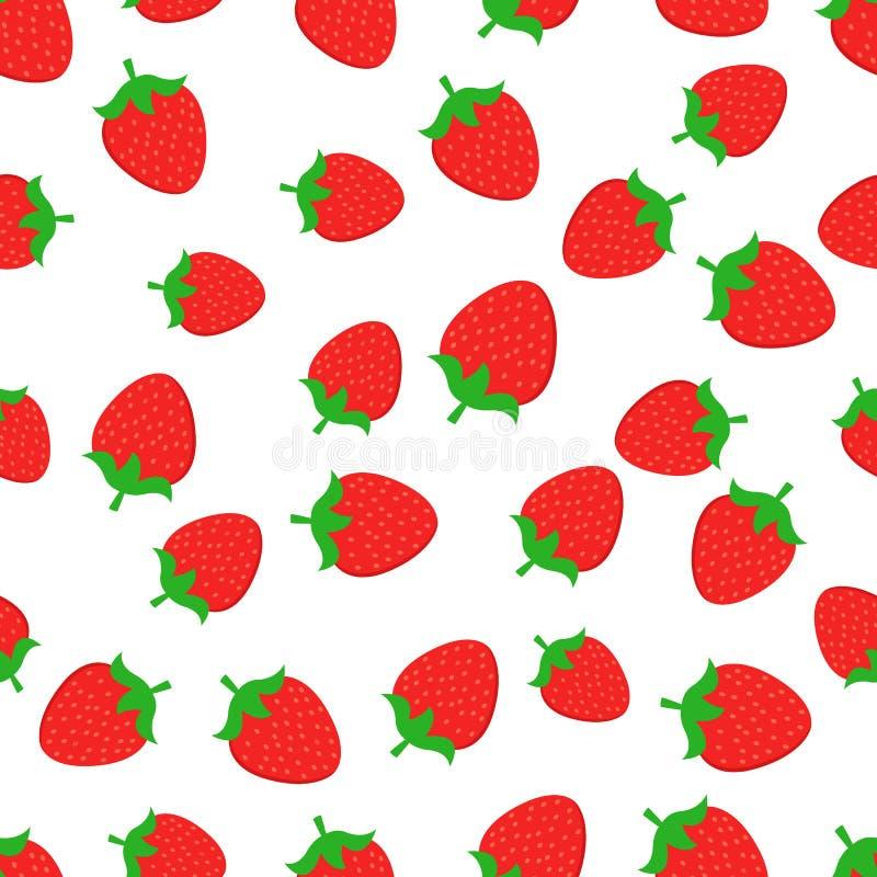 Ζωηρόχρωμο υπόβαθρο σχεδίων φραουλών άνευ ραφής διανυσματικό τρόφιμα υγιή Θερινό σχέδιο φρούτων, ζωηρόχρωμη τυπωμένη ύλη για το σ ελεύθερη απεικόνιση δικαιώματος
