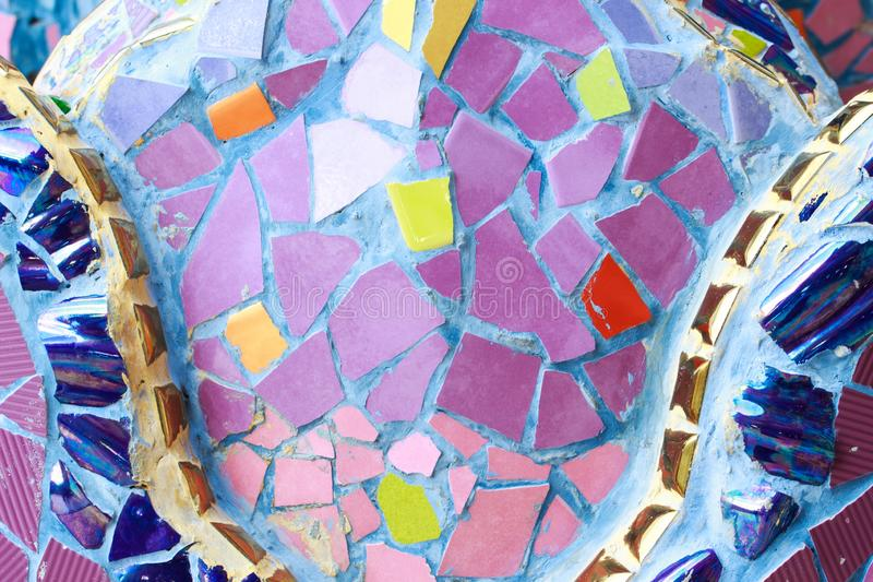 Ζωηρόχρωμο υπόβαθρο σύστασης τοίχων γυαλιού και κεραμιδιών, τέχνη μωσαϊκών στοκ εικόνες