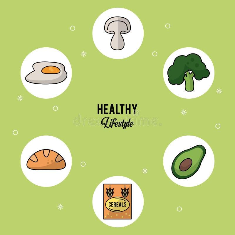 Ζωηρόχρωμο υπόβαθρο του υγιούς τρόπου ζωής με το σύνολο τροφίμων στα στρογγυλά πλαίσια των τηγανισμένων δημητριακών αβοκάντο μπρό ελεύθερη απεικόνιση δικαιώματος