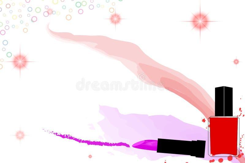 Ζωηρόχρωμο υπόβαθρο makeup με τη στιλβωτική ουσία κραγιόν και καρφιών ελεύθερη απεικόνιση δικαιώματος