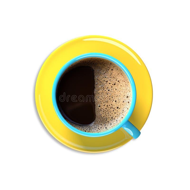 Ζωηρόχρωμο φλυτζάνι καφέ σε ένα άσπρο υπόβαθρο ελεύθερη απεικόνιση δικαιώματος
