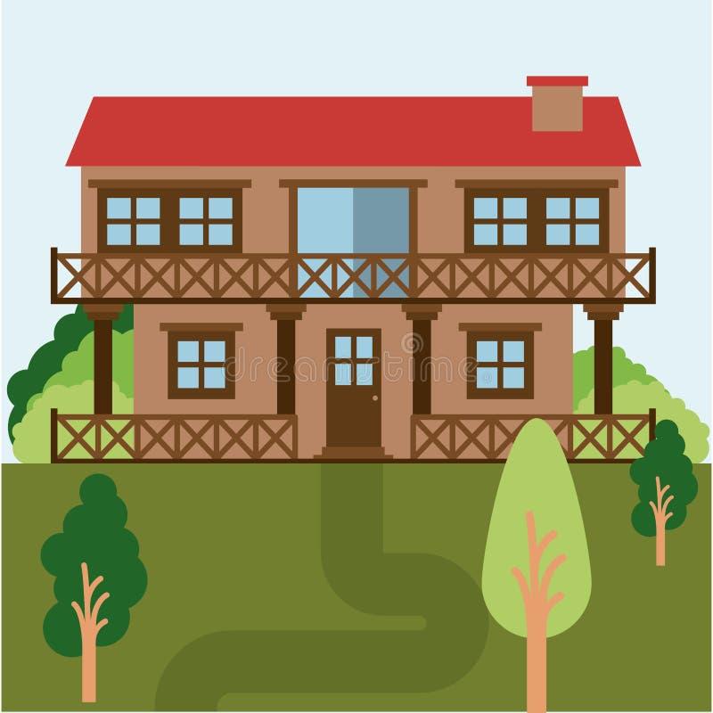 Ζωηρόχρωμο φυσικό τοπίο με το εξοχικό σπίτι δύο πατωμάτων με το κιγκλίδωμα διανυσματική απεικόνιση