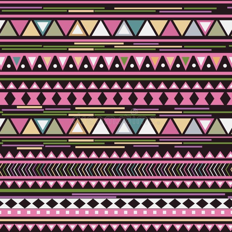 Ζωηρόχρωμο φυλετικό γεωμετρικό των Αζτέκων άνευ ραφής σχέδιο διανυσματική απεικόνιση