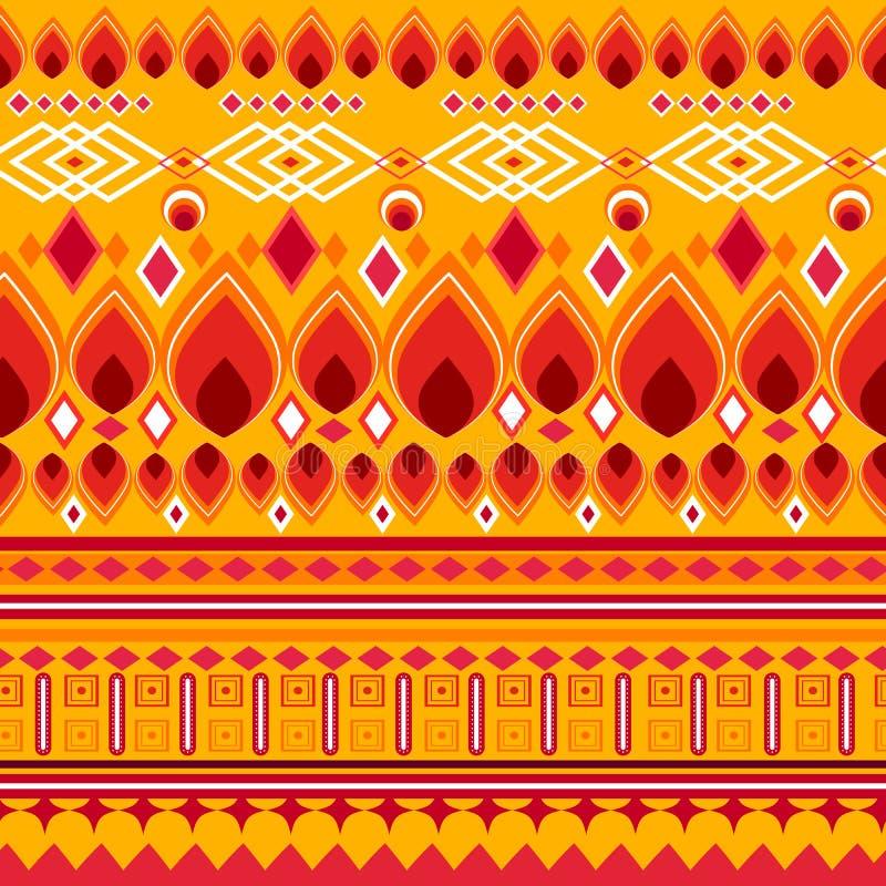 Ζωηρόχρωμο φυλετικό γεωμετρικό των Αζτέκων άνευ ραφής σχέδιο απεικόνιση αποθεμάτων