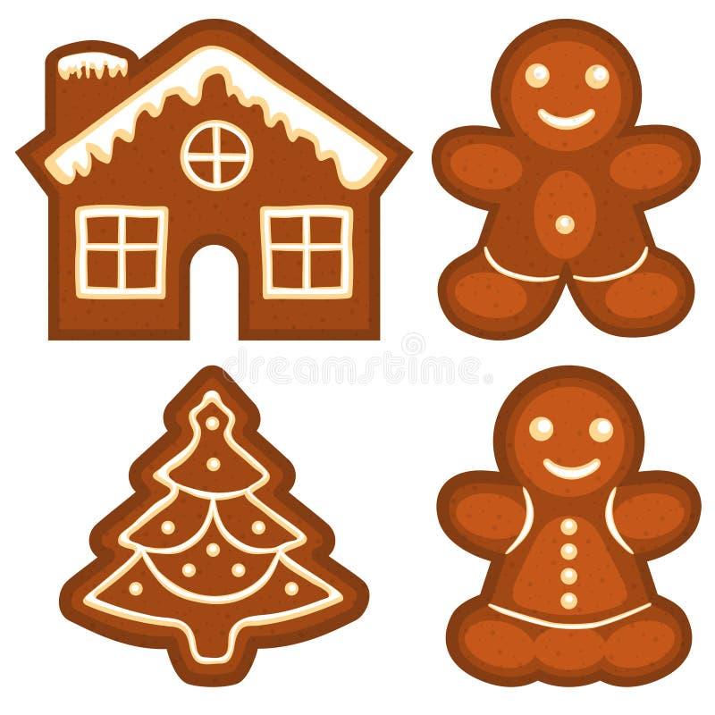 Ζωηρόχρωμο φωτεινό σύνολο λογότυπων εικονιδίων μπισκότων ψωμιού πιπεροριζών ελεύθερη απεικόνιση δικαιώματος