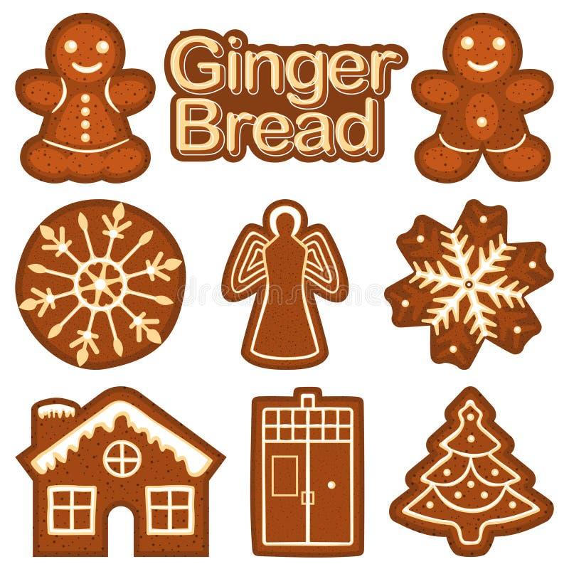 Ζωηρόχρωμο φωτεινό σύνολο μπισκότων ψωμιού πιπεροριζών Χριστουγέννων διανυσματική απεικόνιση