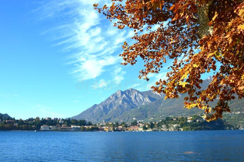 Ζωηρόχρωμο φύλλωμα φθινοπώρου στο κόκκινο και κίτρινο χρώμα πέρα από τη λίμνη με το όμορφο τοπίο βουνών στη λίμνη Como, Ιταλία στοκ φωτογραφία