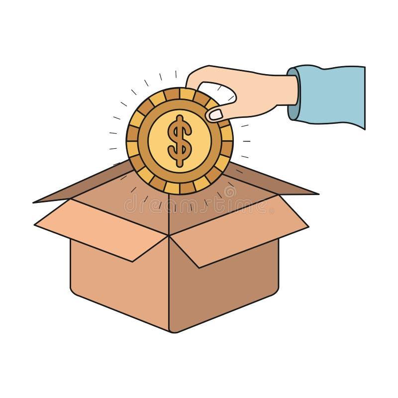 Ζωηρόχρωμο χέρι σκιαγραφιών που κρατά ένα νόμισμα με το σύμβολο δολαρίων μέσα στην κατάθεση στο κουτί από χαρτόνι απεικόνιση αποθεμάτων