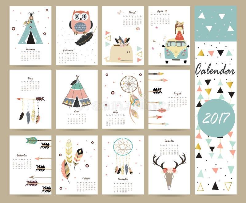 Ζωηρόχρωμο χαριτωμένο μηνιαίο ημερολόγιο 2017 με τη σκηνή, φάλαινα, φτερό ελεύθερη απεικόνιση δικαιώματος