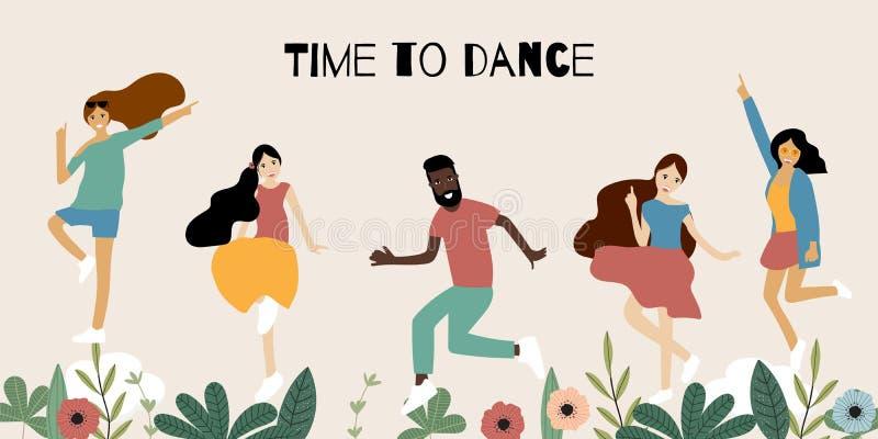 Ζωηρόχρωμο χορεύοντας έμβλημα ανθρώπων με τη γυναίκα, τον άνδρα και το απεικόνιση αποθεμάτων