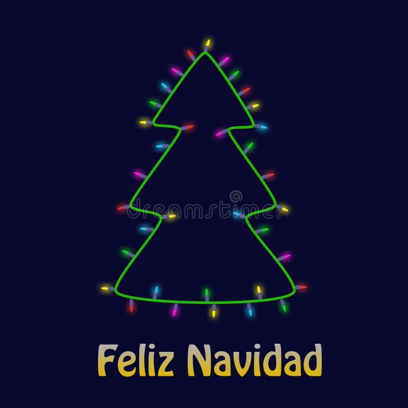 Ζωηρόχρωμο χριστουγεννιάτικο δέντρο φιαγμένο από νέο υπόβαθρο ευχετήριων καρτών έτους γιρλαντών λαμπών φωτός Feliz Navidad ελεύθερη απεικόνιση δικαιώματος