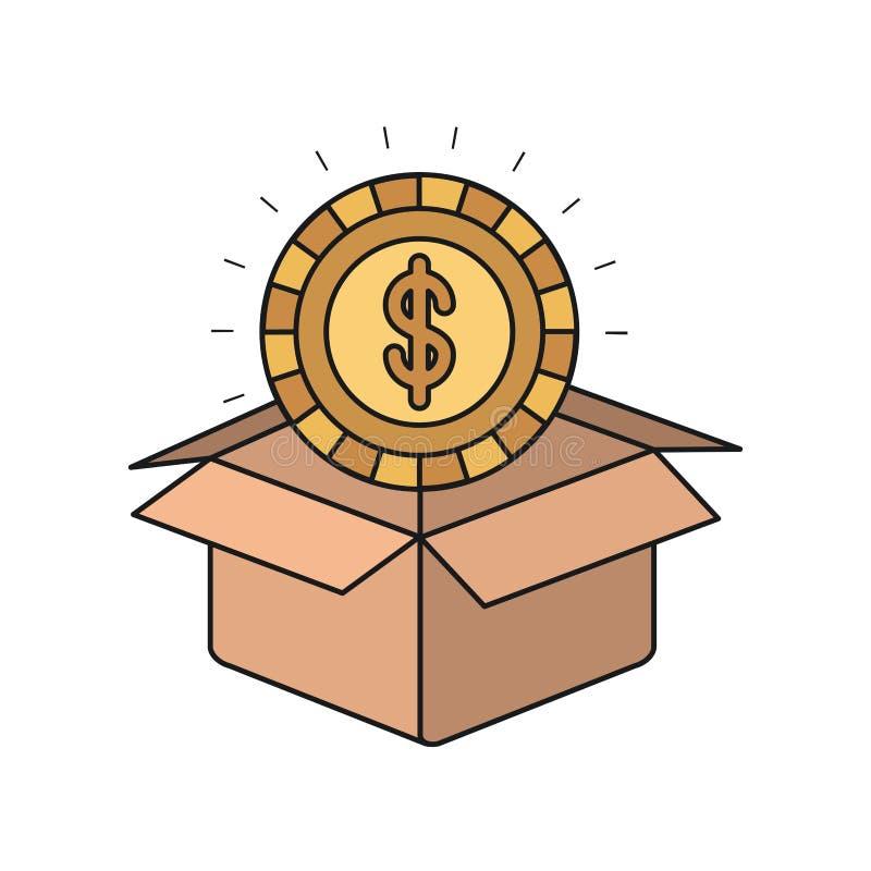 Ζωηρόχρωμο χρυσό νόμισμα κινηματογραφήσεων σε πρώτο πλάνο σκιαγραφιών με το σύμβολο δολαρίων μέσα στην έξοδο από του κουτιού από  διανυσματική απεικόνιση