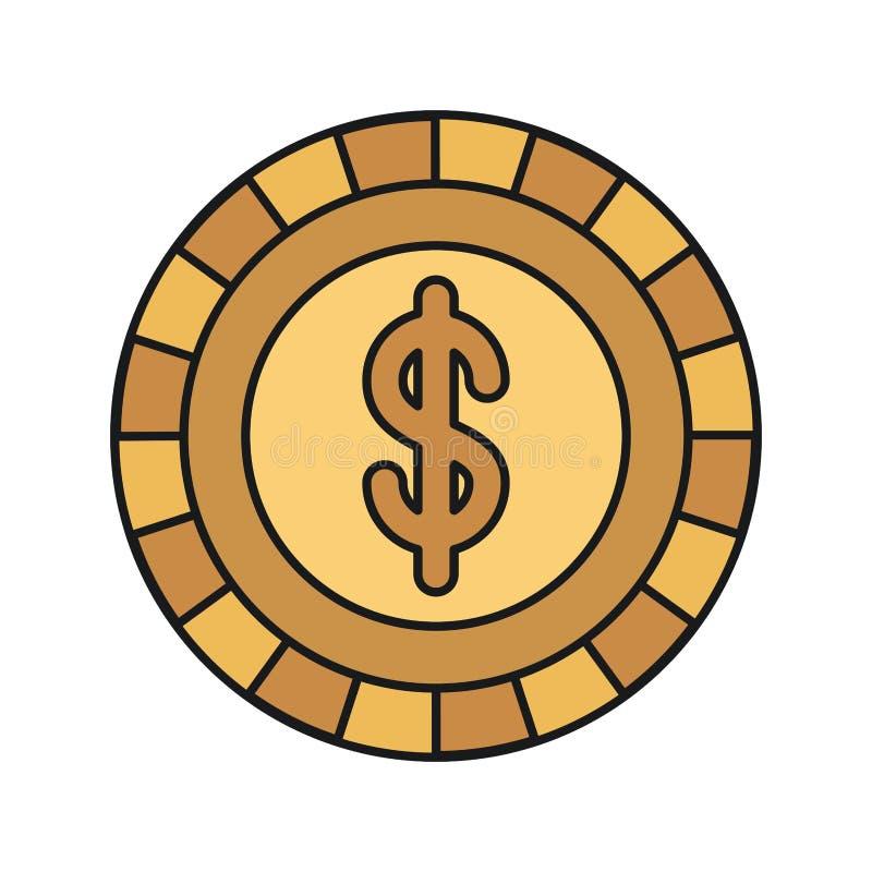 Ζωηρόχρωμο χρυσό νόμισμα μπροστινής άποψης σκιαγραφιών με το σύμβολο δολαρίων μέσα ελεύθερη απεικόνιση δικαιώματος