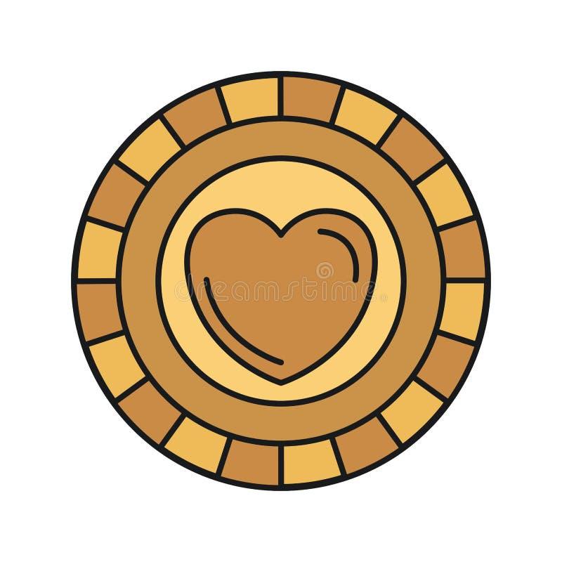 Ζωηρόχρωμο χρυσό νόμισμα μπροστινής άποψης σκιαγραφιών με το σύμβολο καρδιών μέσα απεικόνιση αποθεμάτων