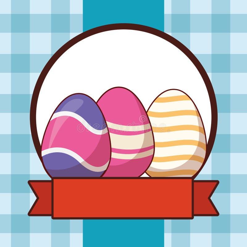 Ζωηρόχρωμο χρωματισμένο ελεγμένο υπόβαθρο αυγών Πάσχας γύρω από το έμβλημα κορδελλών πλαισίων απεικόνιση αποθεμάτων