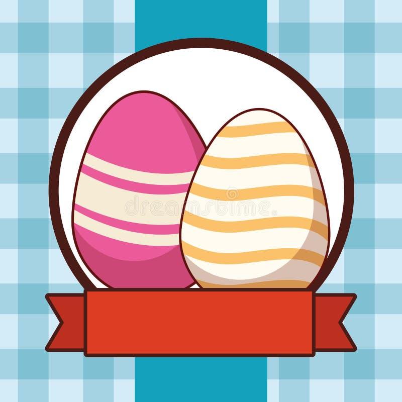 Ζωηρόχρωμο χρωματισμένο ελεγμένο υπόβαθρο αυγών Πάσχας γύρω από το έμβλημα κορδελλών πλαισίων ελεύθερη απεικόνιση δικαιώματος