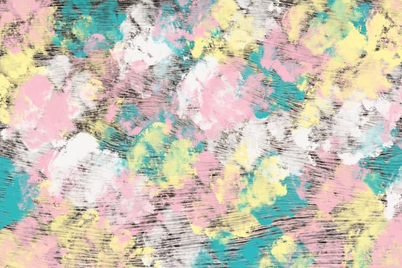 Ζωηρόχρωμο ψηφιακό χρώμα κρητιδογραφιών τέχνης χρωμάτων ρόδινο, πορτοκαλί, κίτρινο α διανυσματική απεικόνιση