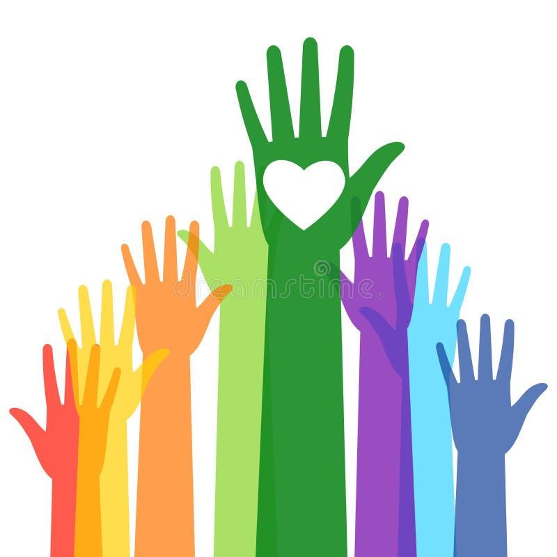 Ζωηρόχρωμο ψηφοφορία αυξημένο χέρι ανθρώπων διανυσματική απεικόνιση