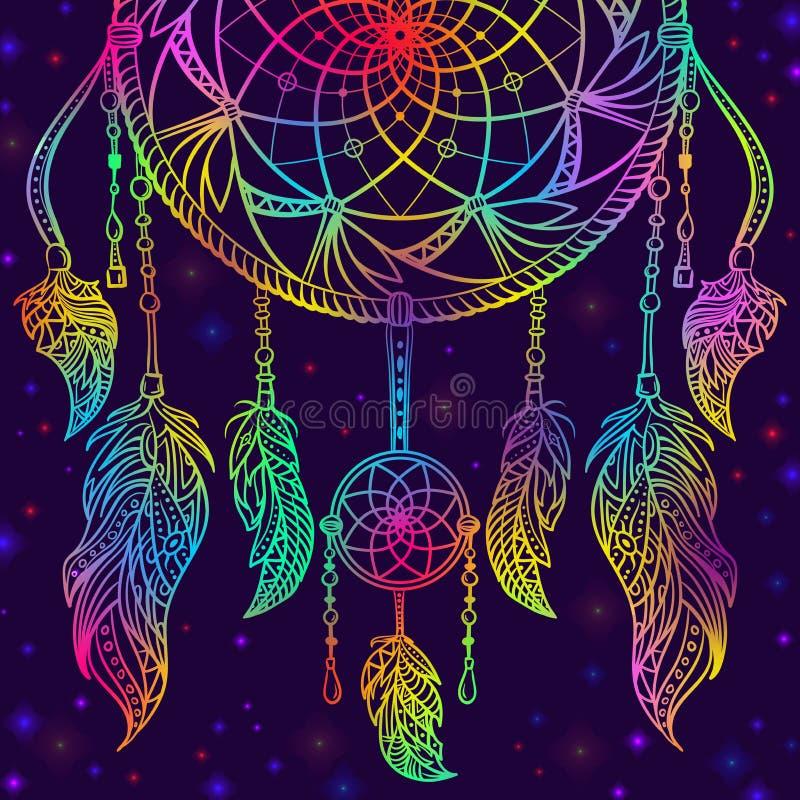 Ζωηρόχρωμο catcher ονείρου με τη διακόσμηση και νυχτερινός ουρανός με τα αστέρια ελεύθερη απεικόνιση δικαιώματος