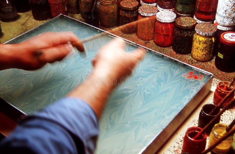 Ζωηρόχρωμο ebru ή παραδοσιακή τέχνη Marbling στοκ εικόνες