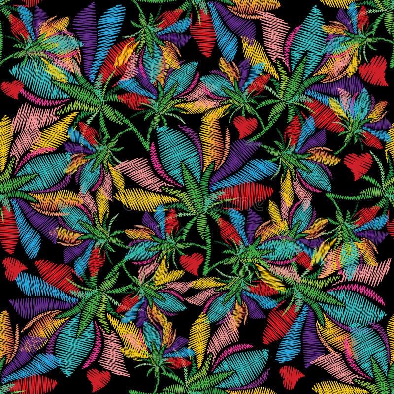 Ζωηρόχρωμο floral άνευ ραφής σχέδιο κεντητικής Φωτεινό διάνυσμα backg απεικόνιση αποθεμάτων