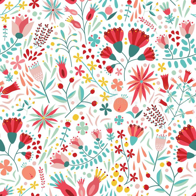 Ζωηρόχρωμο floral άνευ ραφής σχέδιο με τα μούρα, τα φύλλα και τα λουλούδια στο άσπρο υπόβαθρο Διακοσμητικό βοτανικό σκηνικό διανυσματική απεικόνιση