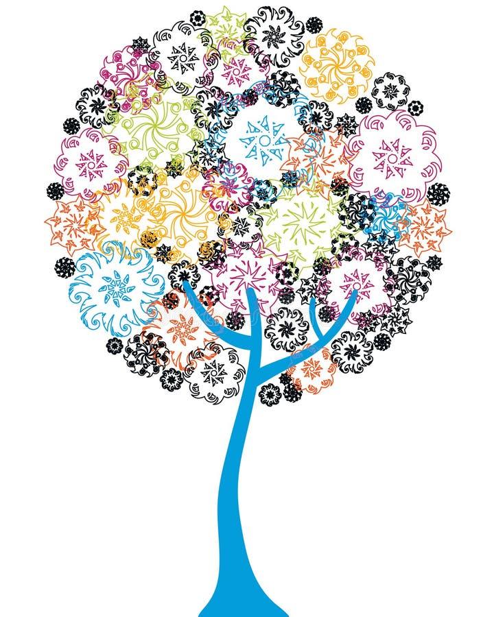 ζωηρόχρωμο floral δέντρο ελεύθερη απεικόνιση δικαιώματος