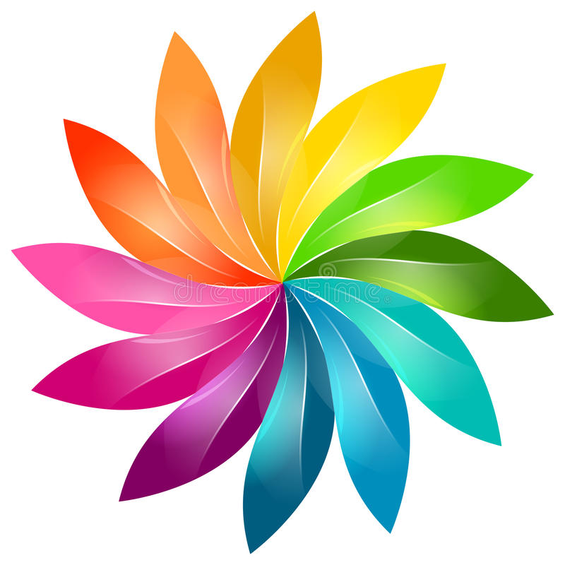 Ζωηρόχρωμο floral σημάδι διανυσματική απεικόνιση