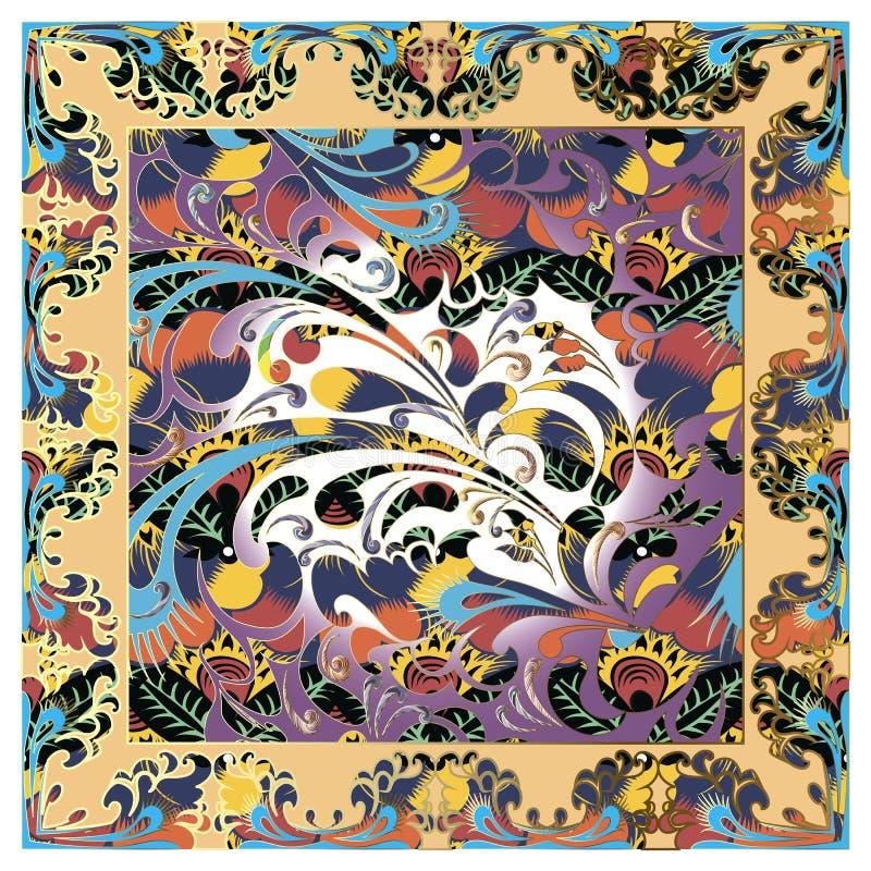 Ζωηρόχρωμο floral σχέδιο μαντίλι σαλιών του Paisley διανυσματικό διανυσματική απεικόνιση