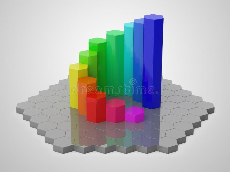 Ζωηρόχρωμο hexagon τρισδιάστατο διάγραμμα 2 απεικόνιση αποθεμάτων