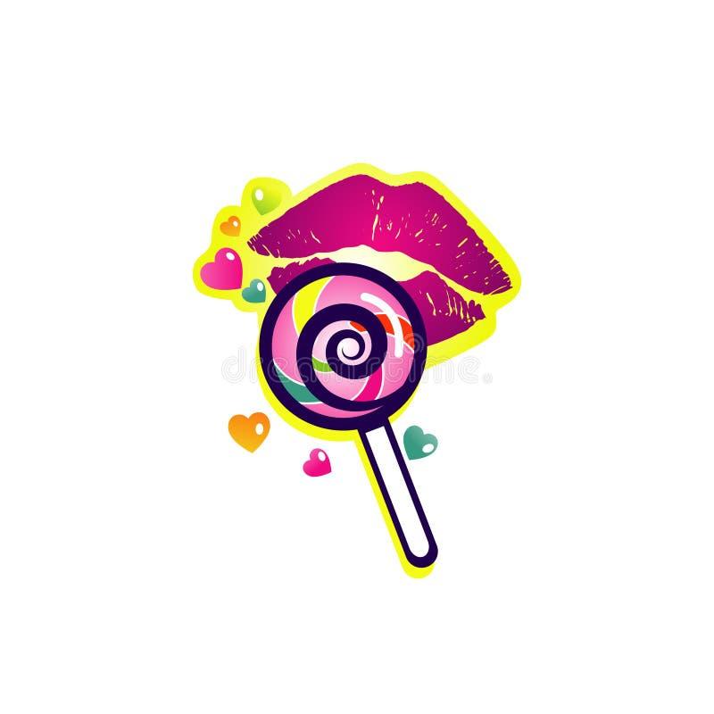 Ζωηρόχρωμο Lollipop με το εικονίδιο συμβόλων λογότυπων χειλικής απεικόνισης απεικόνιση αποθεμάτων